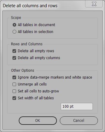 Delete empty rows and columns UI