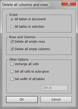 Delete Rows and Columns UI