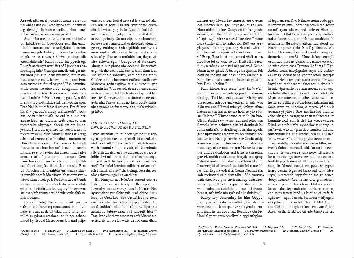 Layout demonstrating run-on footnotes (click to enlarge)