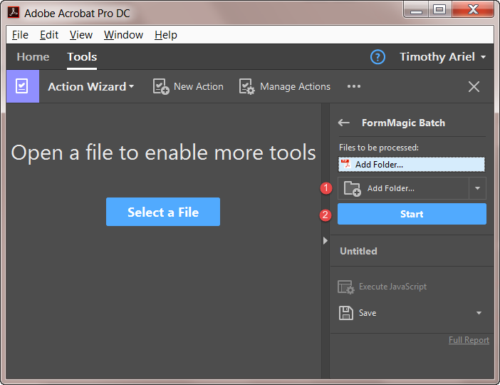 Running the batch action in Acrobat