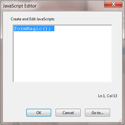 Adding the FormMagic command to the Javascript editor in Acrobat