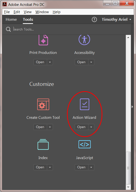 Finding the Action tool in Acrobat