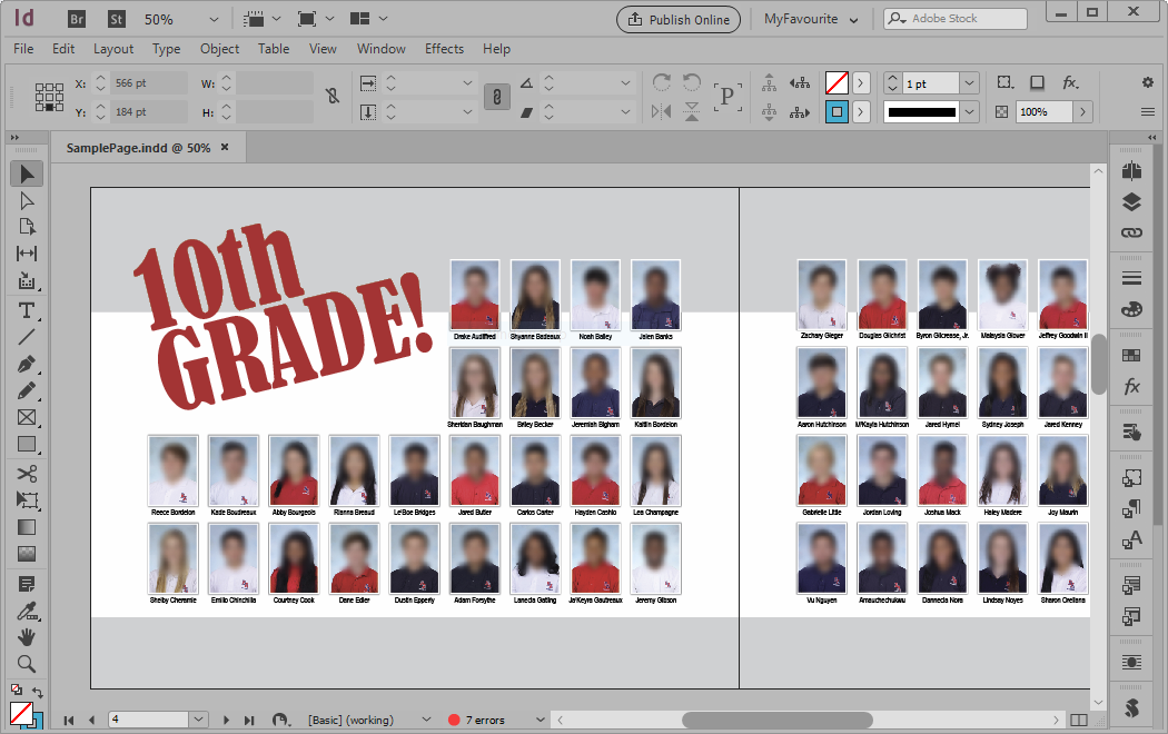 Yearbook Creator Sample Page