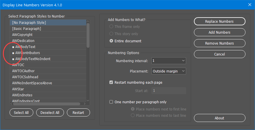 Line Number Version 4.1.0 Screenshot showing the new visual indicator for selected paragraph styles