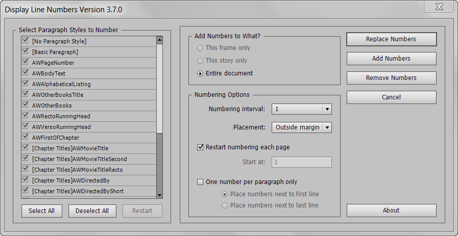 Line Numbers InDesign Script Screen Capture