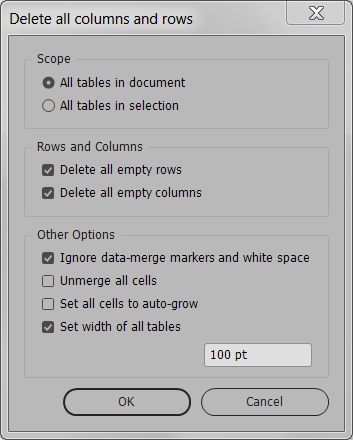 Delete all empty rows or columns from an InDesign table | Id-Extras com