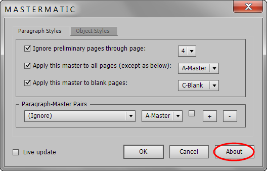 Mastermatic About button