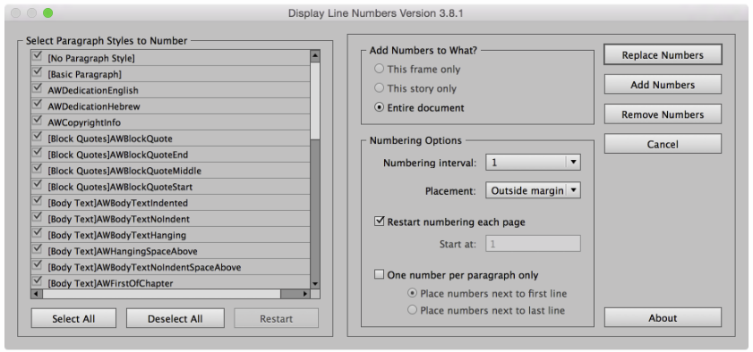 Screenshot of Line Numbers UI