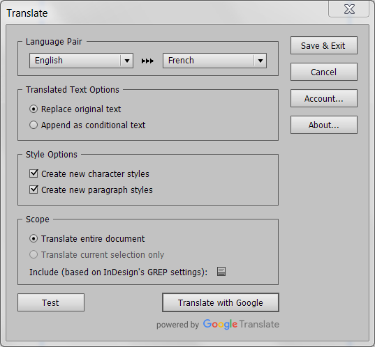Translate Add-on for InDesign: The UI